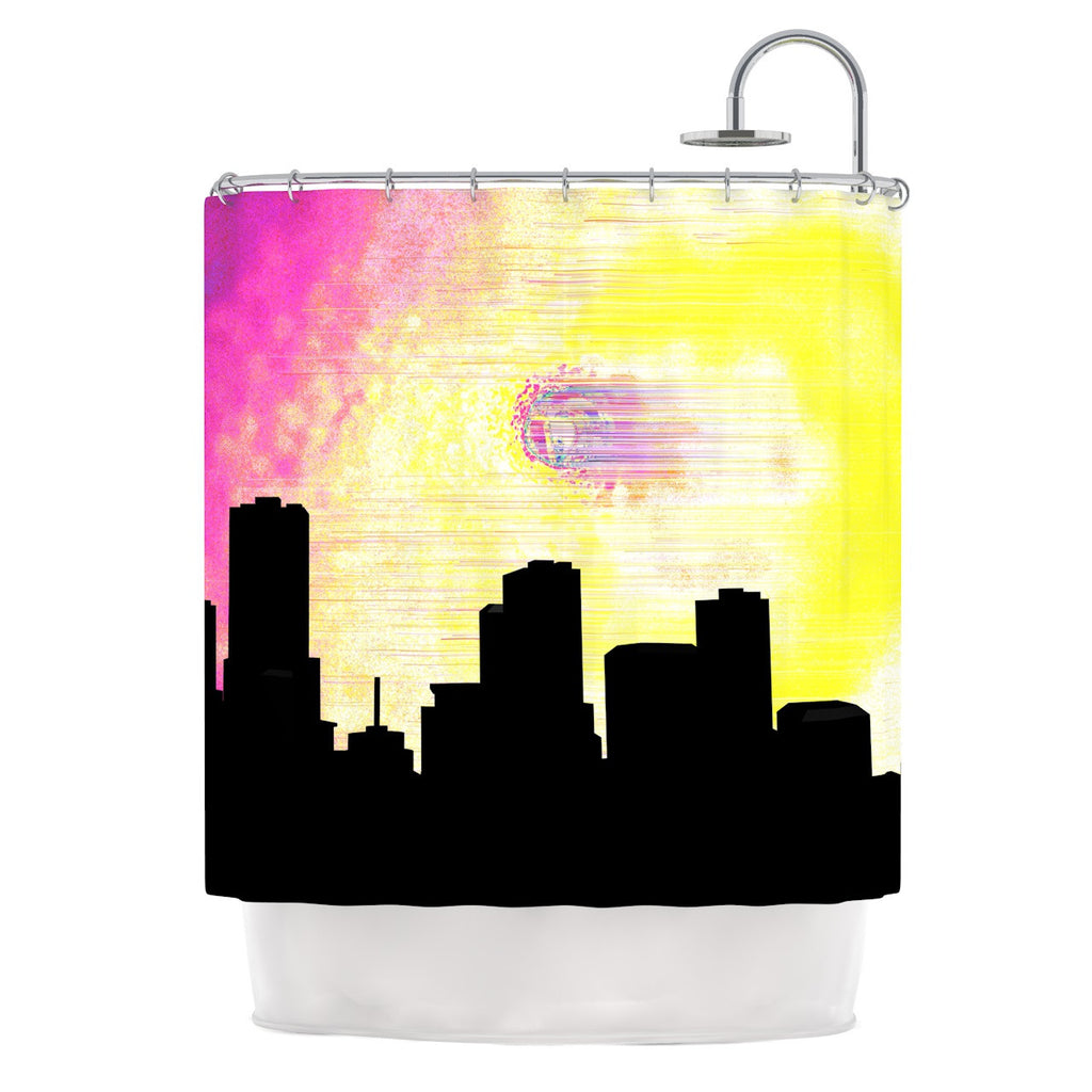 "Infinite Spray Art ""Skylined"" Pink Yellow Shower Curtain - KESS InHouse"