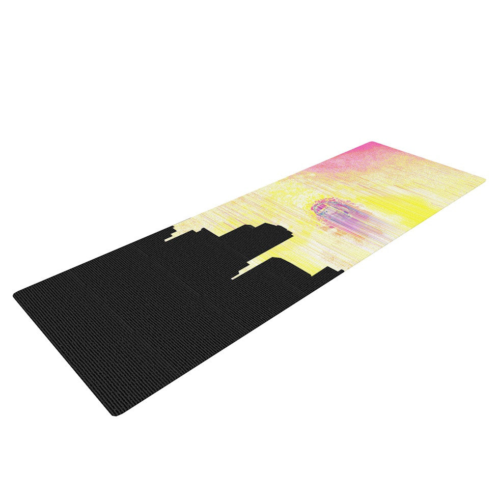 "Infinite Spray Art ""Skylined"" Pink Yellow Yoga Mat - KESS InHouse  - 1"