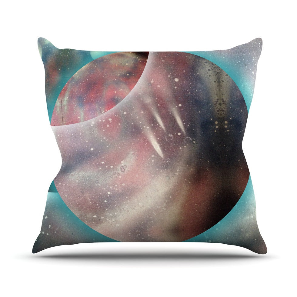 "Infinite Spray Art ""Dimensions""  Teal Planet Outdoor Throw Pillow - KESS InHouse  - 1"