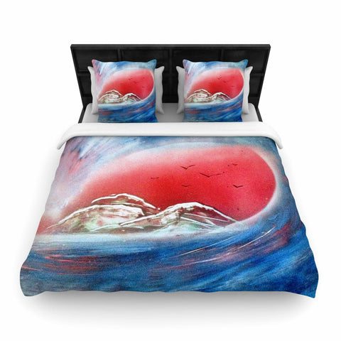 "Infinite Spray Art ""Tubular"" Red Blue Woven Duvet Cover - Outlet Item"