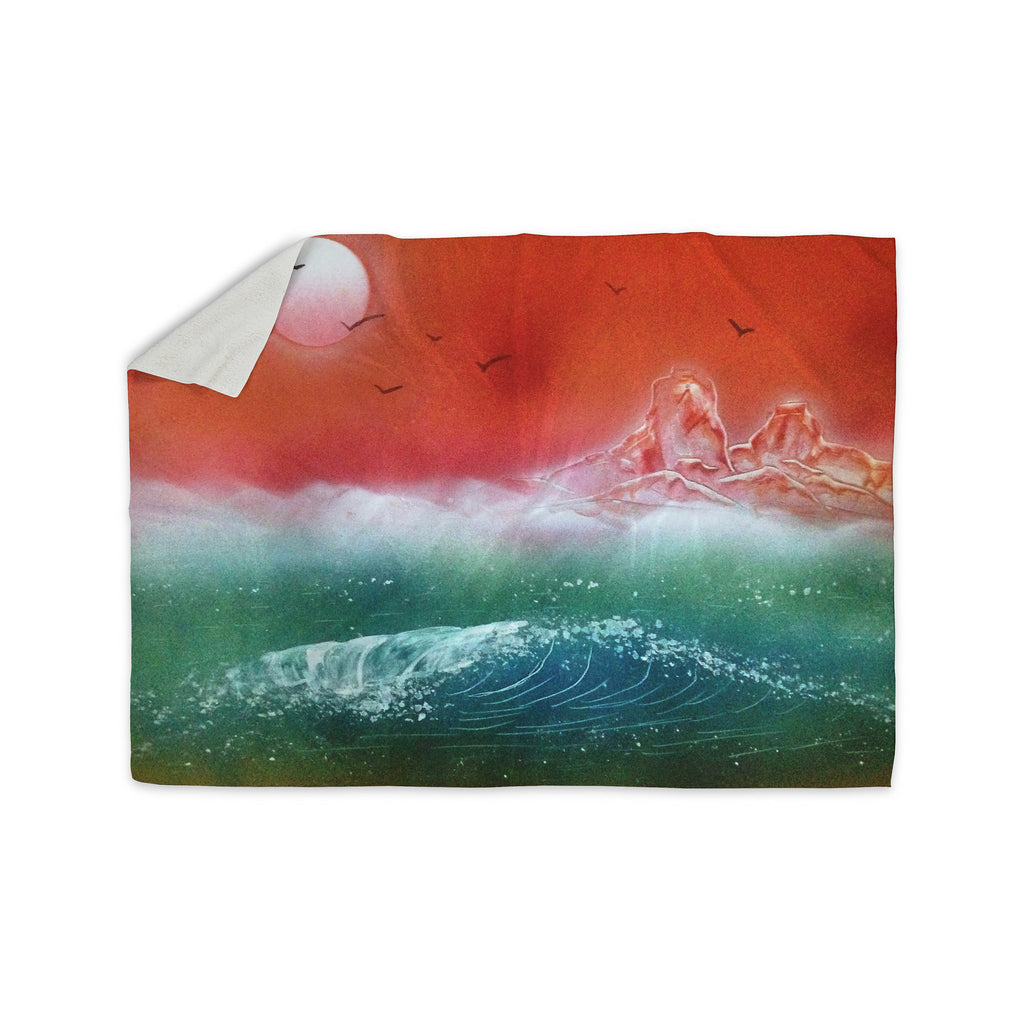 "Infinite Spray Art ""Dream Seascape"" Teal Red Sherpa Blanket - KESS InHouse  - 1"