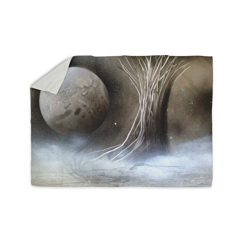 "Infinite Spray Art ""Black White Tree"" Gray Space Sherpa Blanket - KESS InHouse  - 1"