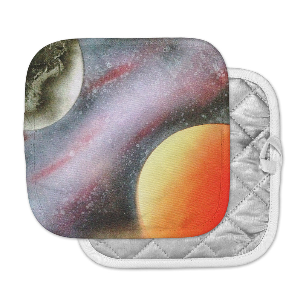 "Infinite Spray Art ""Alignment"" Red Orange Black Pot Holder"