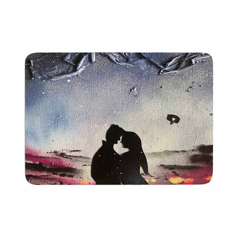 "Infinite Spray Art ""Out Of This World Couple"" Black Blue Love Fantasy Painting Mixed Media Memory Foam Bath Mat"