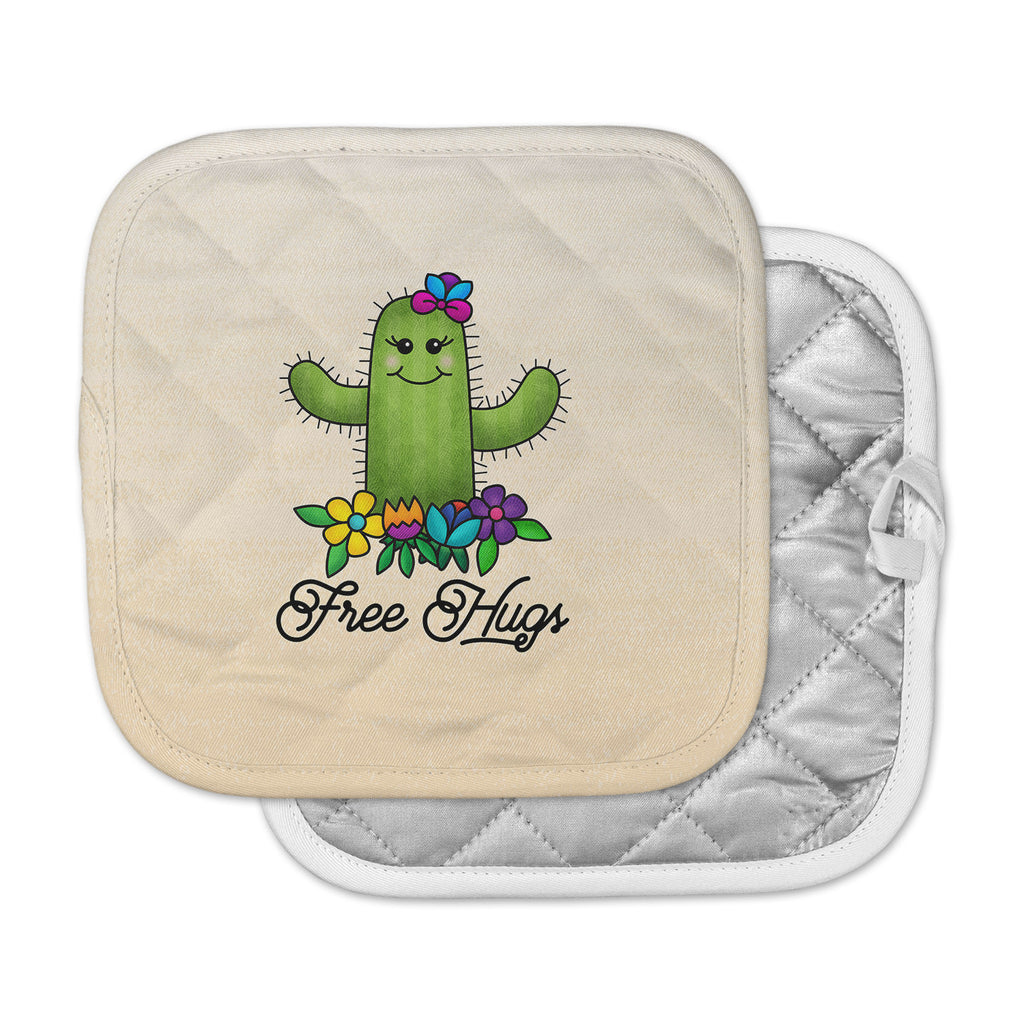 "Noonday Design ""Free Hugs Cactus"" Green Pastel Pot Holder"