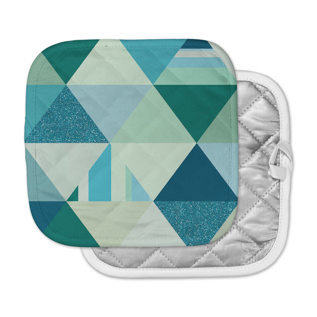 "Noonday Design ""The Triangle Blues"" Geometric Blue Pot Holder"