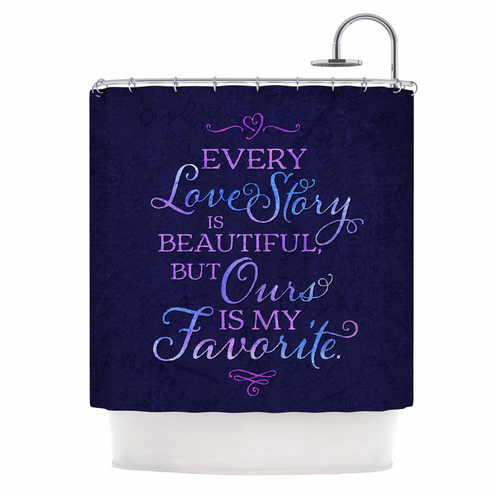 Noonday Design Every Love Story Is Beautiful Blue Purple Shower Curtain