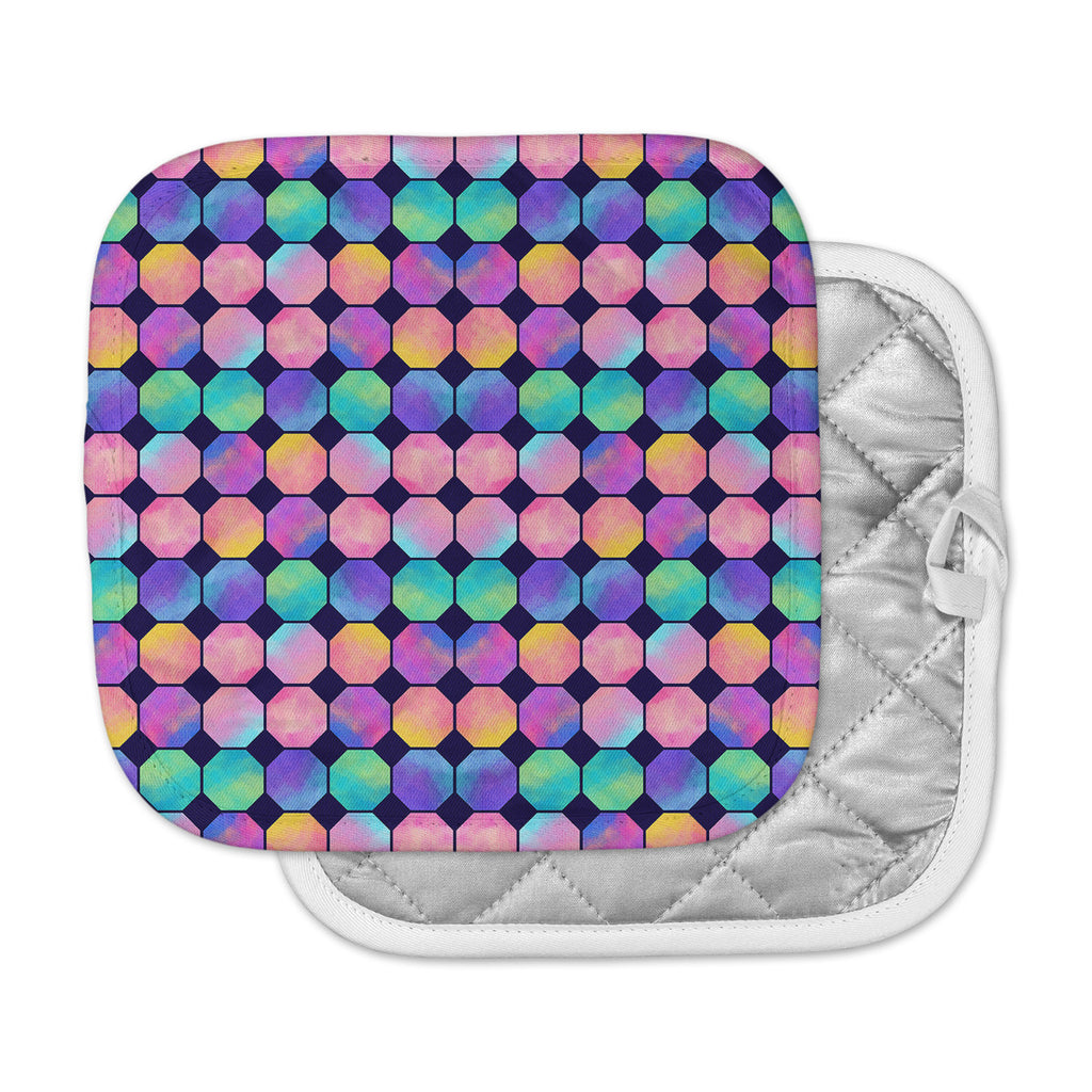 "Noonday Design ""Colorful Watercolor Octagons"" Watercolor Abstract Pot Holder"