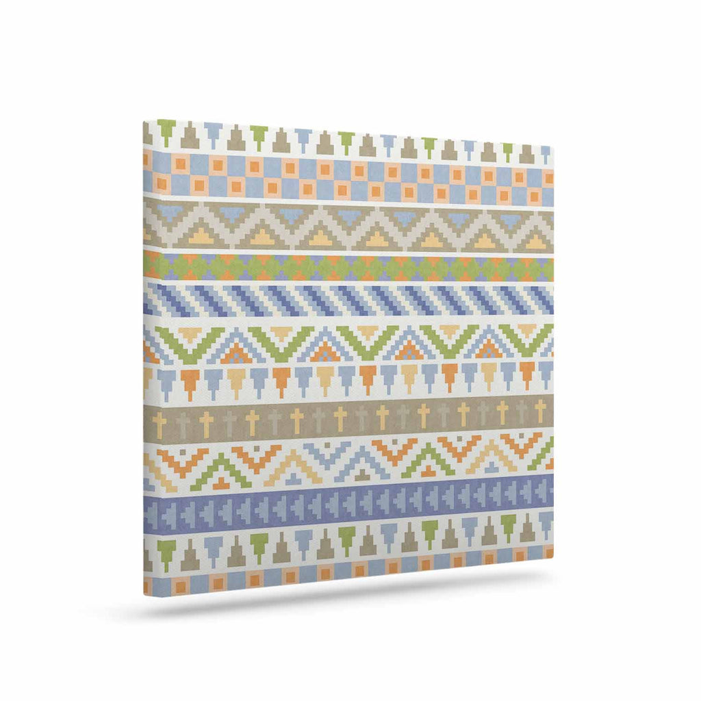 "Noonday Design ""Happy Tribal Pattern"" Pastel Abstract Canvas Art - KESS InHouse  - 1"