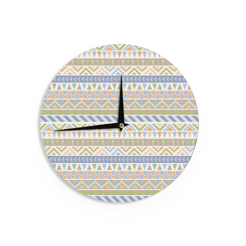 "Noonday Design ""Happy Tribal Pattern"" Pastel Abstract Wall Clock - KESS InHouse"