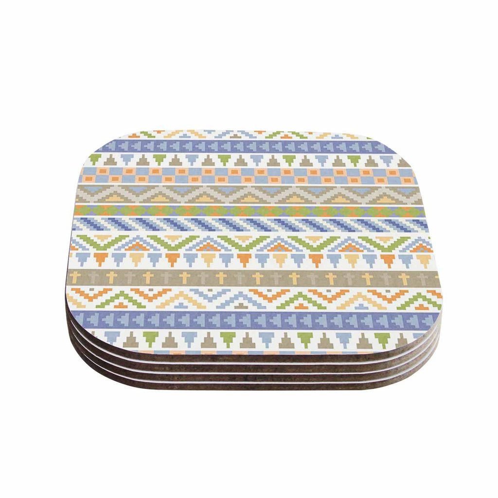 "Noonday Design ""Happy Tribal Pattern"" Pastel Abstract Coasters (Set of 4)"