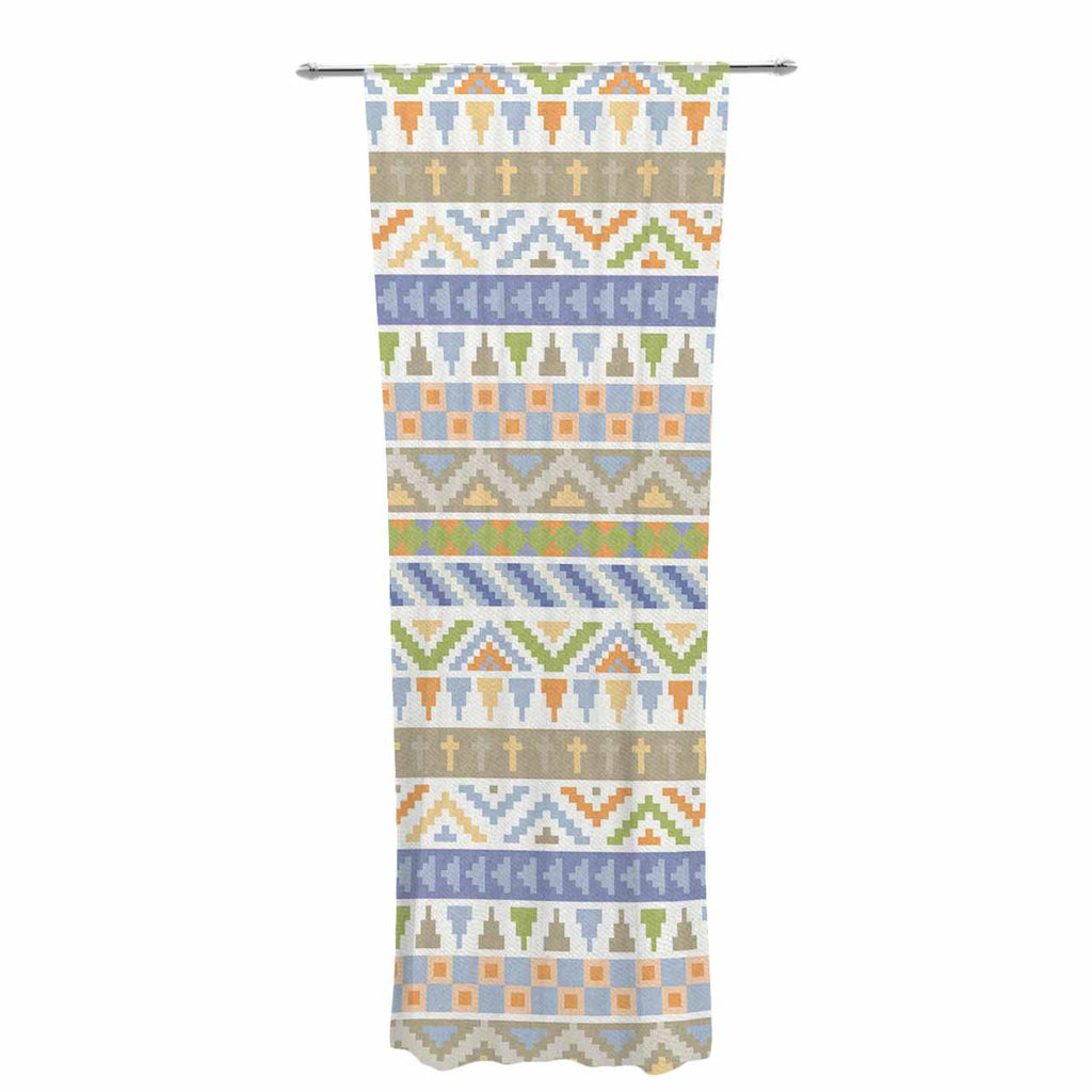 "Noonday Design ""Happy Tribal Pattern"" Pastel Abstract Decorative Sheer Curtain - KESS InHouse  - 1"