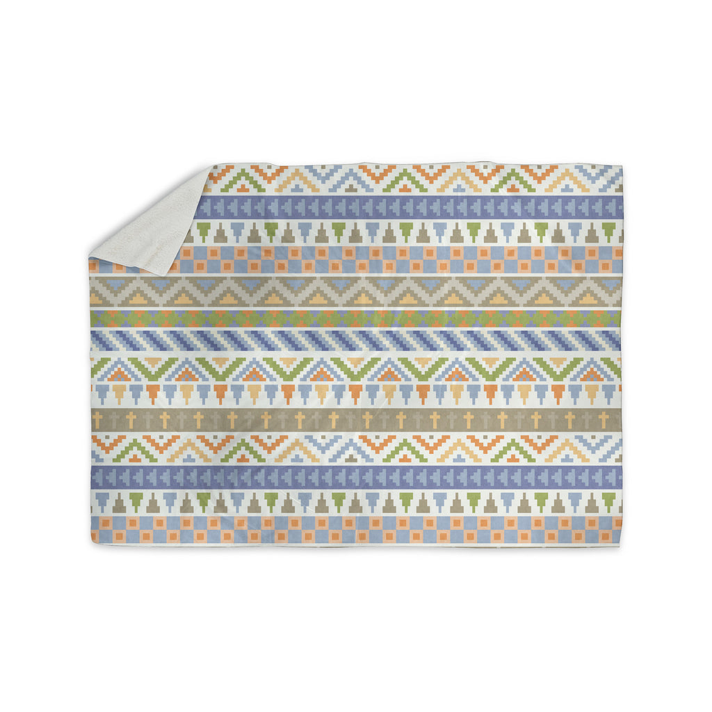 "Noonday Design ""Happy Tribal Pattern"" Pastel Abstract Sherpa Blanket - KESS InHouse  - 1"