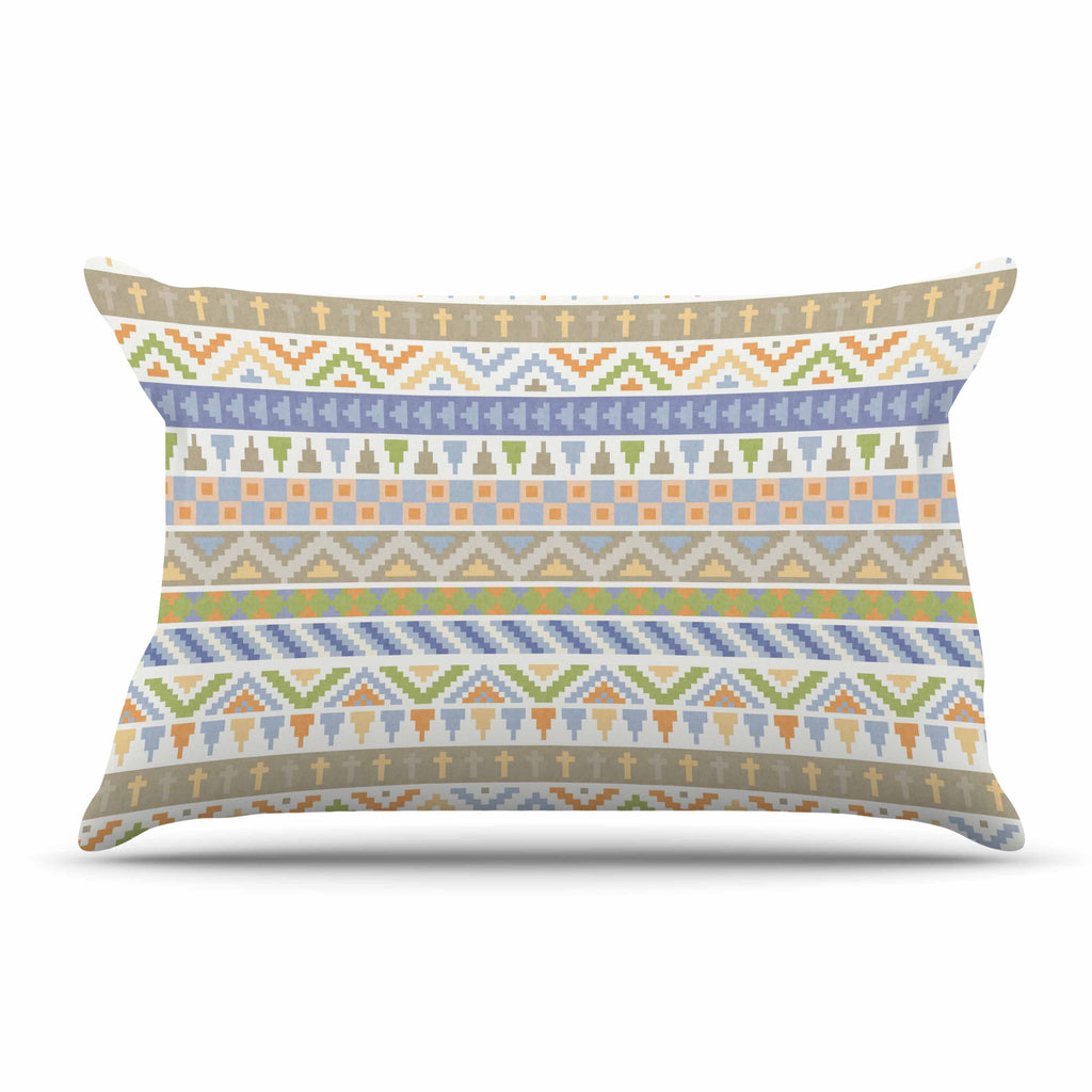 "Noonday Design ""Happy Tribal Pattern"" Pastel Abstract Pillow Sham - KESS InHouse  - 1"