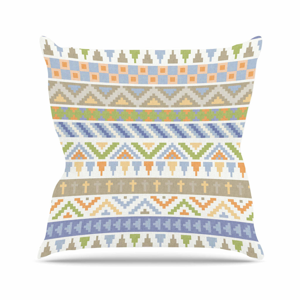 "Noonday Design ""Happy Tribal Pattern"" Pastel Abstract Outdoor Throw Pillow - KESS InHouse  - 1"