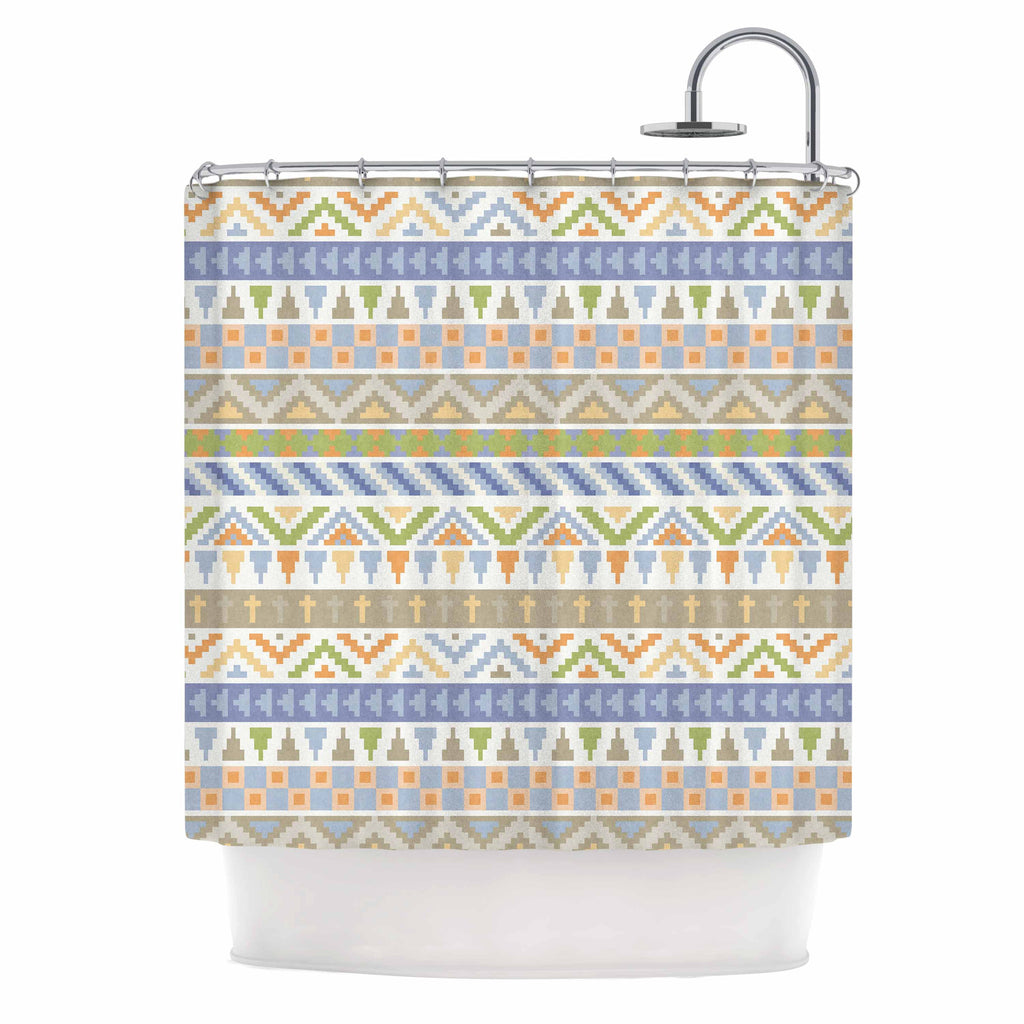 "Noonday Design ""Happy Tribal Pattern"" Pastel Abstract Shower Curtain - KESS InHouse"