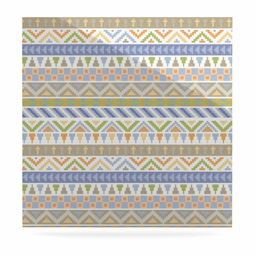 "Noonday Design ""Happy Tribal Pattern"" Pastel Abstract Luxe Square Panel - KESS InHouse  - 1"