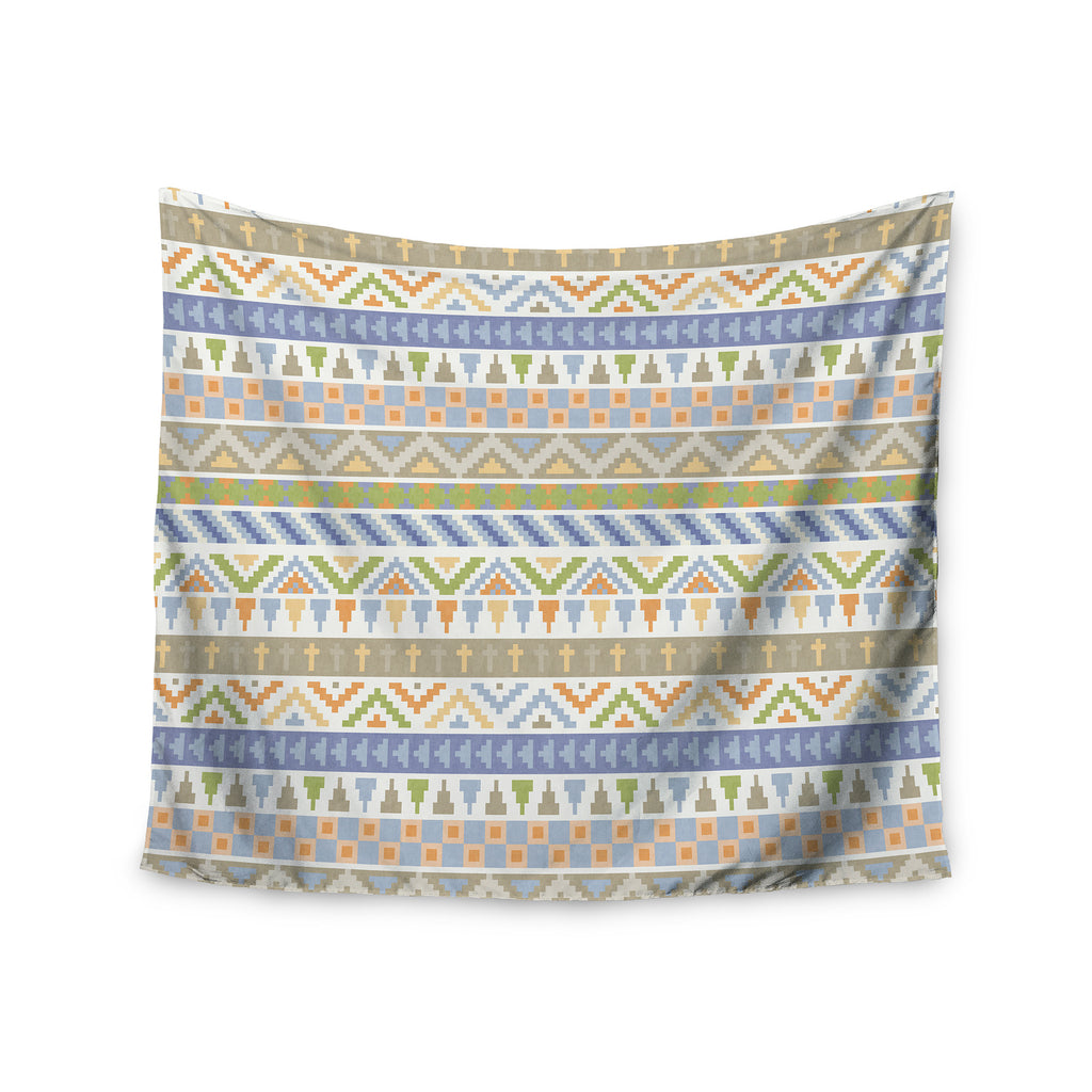 "Noonday Design ""Happy Tribal Pattern"" Pastel Abstract Wall Tapestry - KESS InHouse  - 1"
