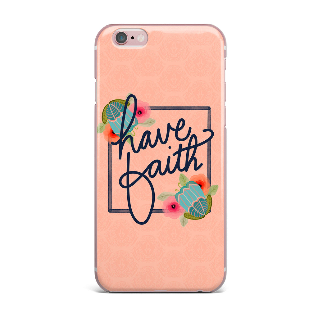 "Noonday Design ""Have Faith"" Coral Teal Typography iPhone Case - KESS InHouse"