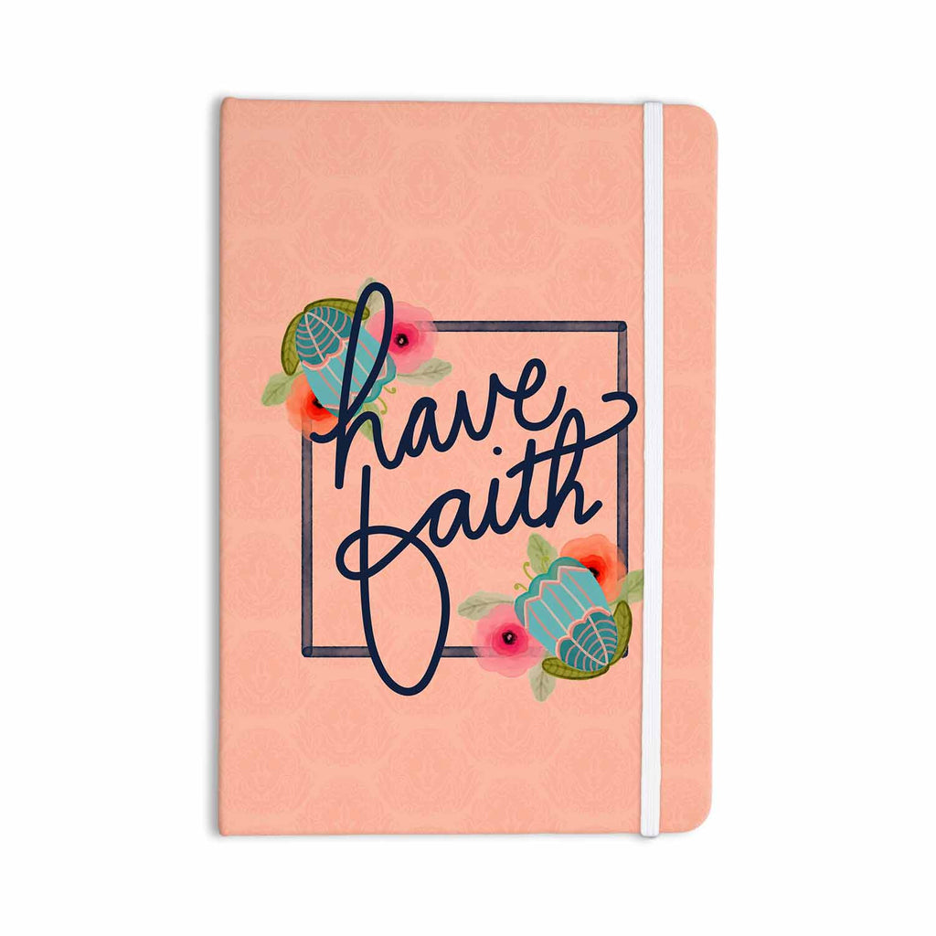 "Noonday Design ""Have Faith"" Coral Teal Typography Everything Notebook - KESS InHouse  - 1"
