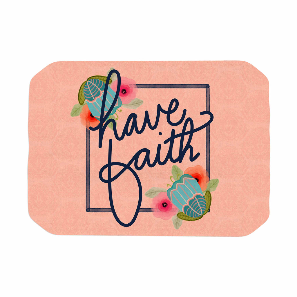 "Noonday Design ""Have Faith"" Coral Teal Typography Place Mat"