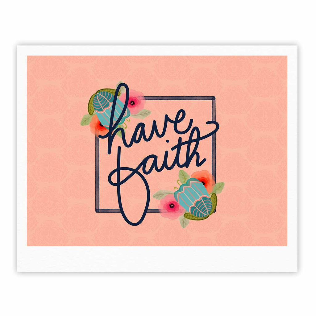 "Noonday Design ""Have Faith"" Coral Teal Typography Fine Art Gallery Print"