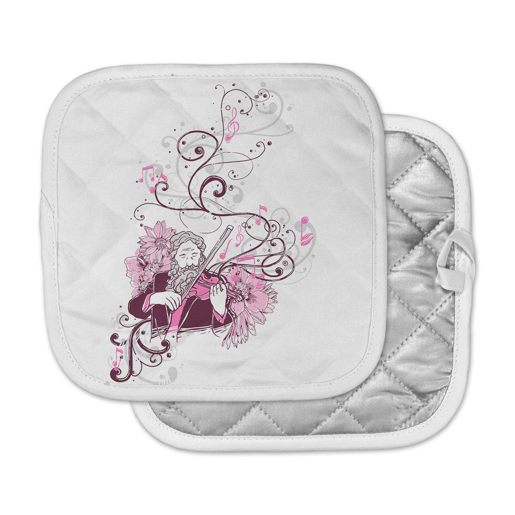 "Tobe Fonseca ""Violinist"" White Pink Pot Holder"