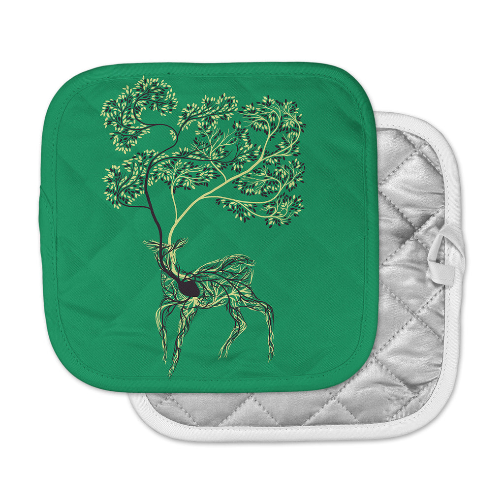 "Tobe Fonseca ""Nectar"" Green Deer Pot Holder"