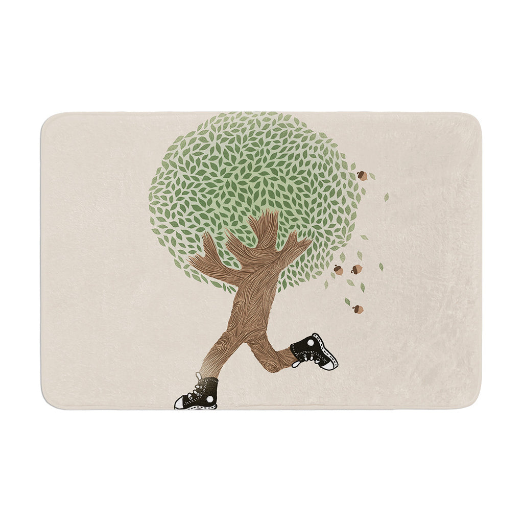 "Tobe Fonseca ""Run For Your Life"" Tree Illustration Memory Foam Bath Mat - KESS InHouse"