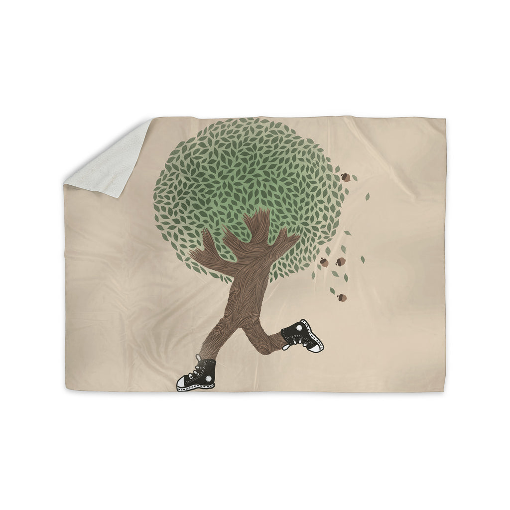 "Tobe Fonseca ""Run For Your Life"" Tree Illustration Sherpa Blanket - KESS InHouse  - 1"