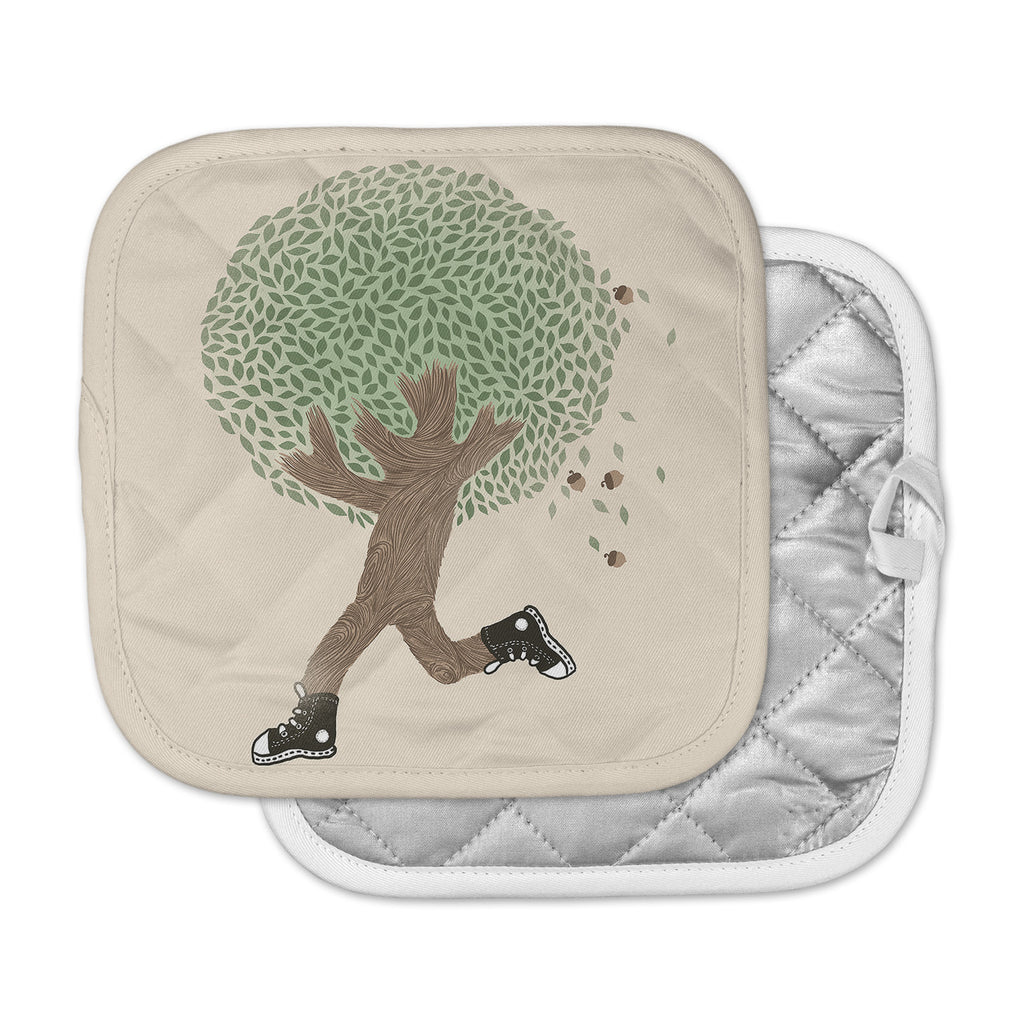 "Tobe Fonseca ""Run For Your Life"" Tree Illustration Pot Holder"