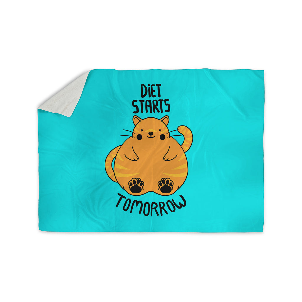 "Tobe Fonseca ""Diet Starts Tomorrow"" Blue Cat Sherpa Blanket - KESS InHouse  - 1"