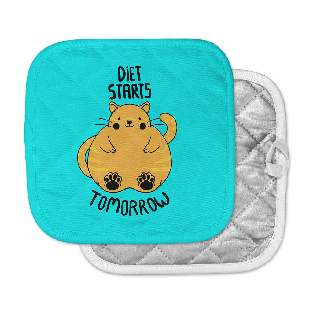 "Tobe Fonseca ""Diet Starts Tomorrow"" Blue Cat Pot Holder"