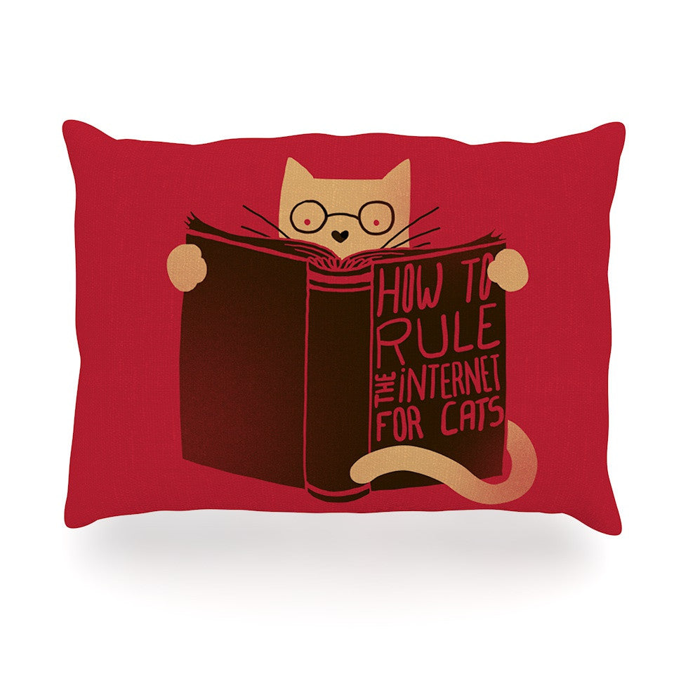"Tobe Fonseca ""How to Rule the Internet For Cats"" Red Typography Oblong Pillow - KESS InHouse"