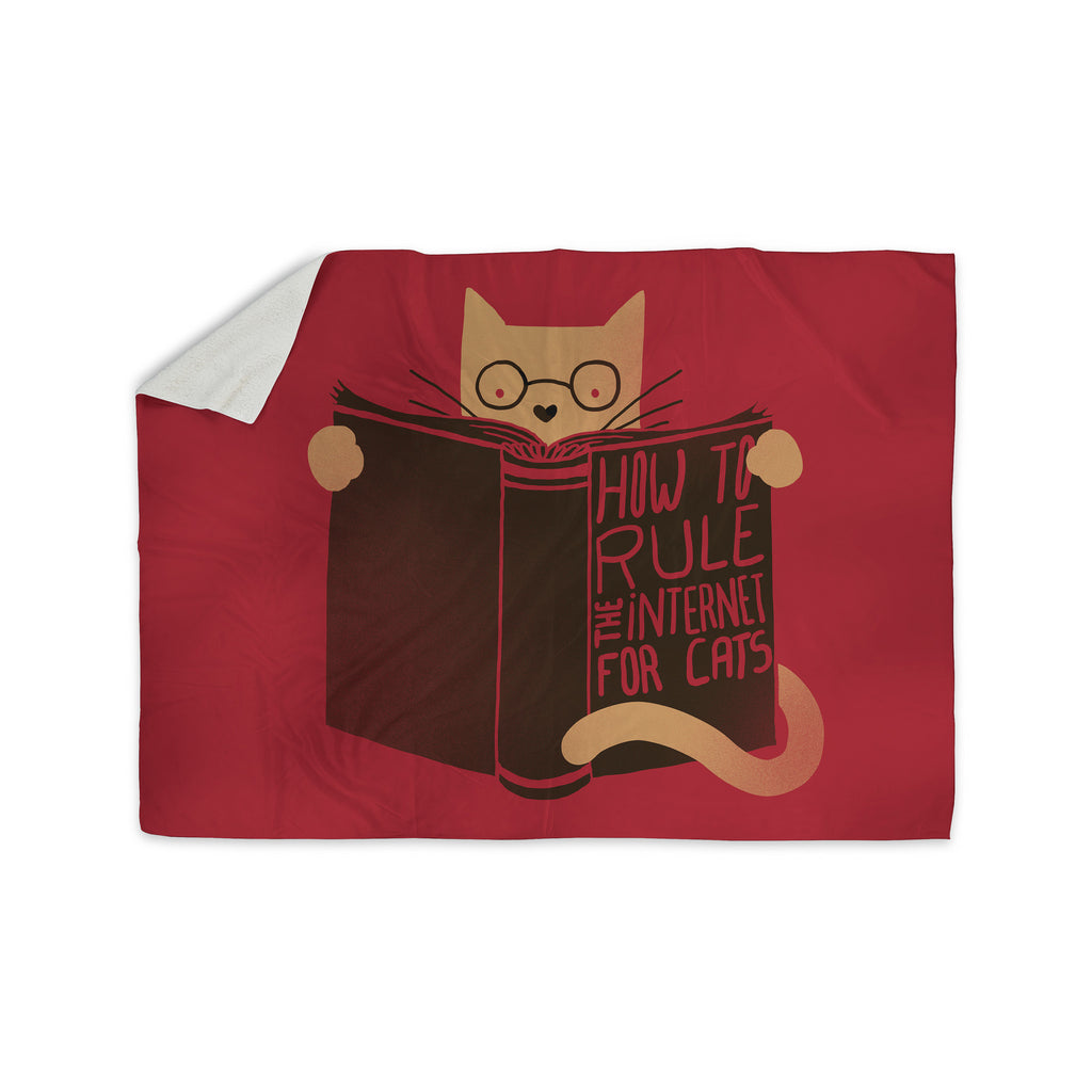 "Tobe Fonseca ""How to Rule the Internet For Cats"" Red Typography Sherpa Blanket - KESS InHouse  - 1"