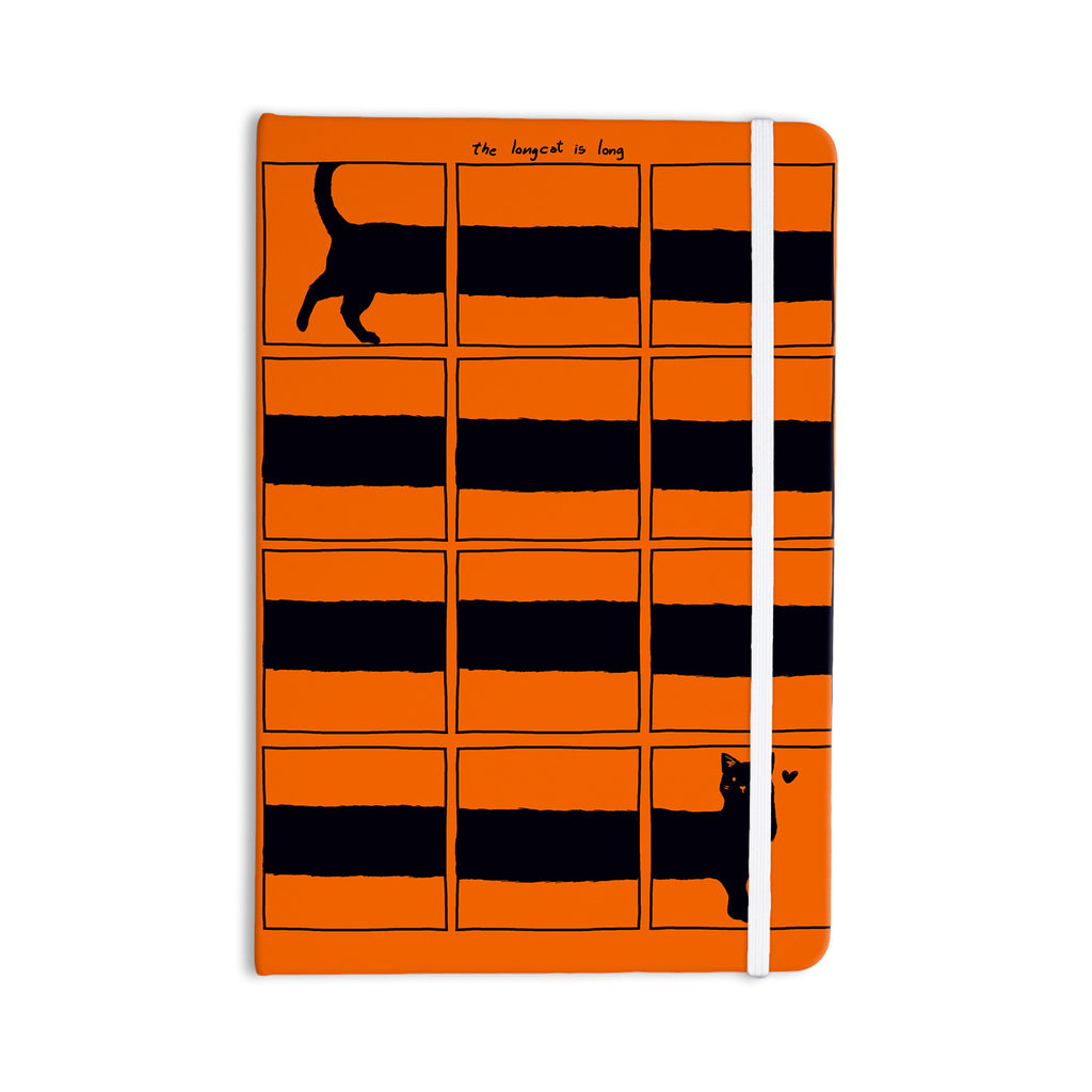 "Tobe Fonseca ""The Long Cat is Long"" Orange Black Everything Notebook - KESS InHouse  - 1"