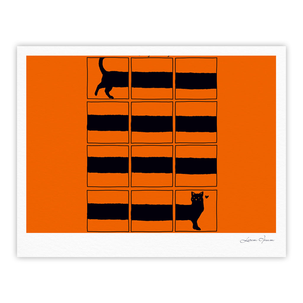 "Tobe Fonseca ""The Long Cat is Long"" Orange Black Fine Art Gallery Print - KESS InHouse"