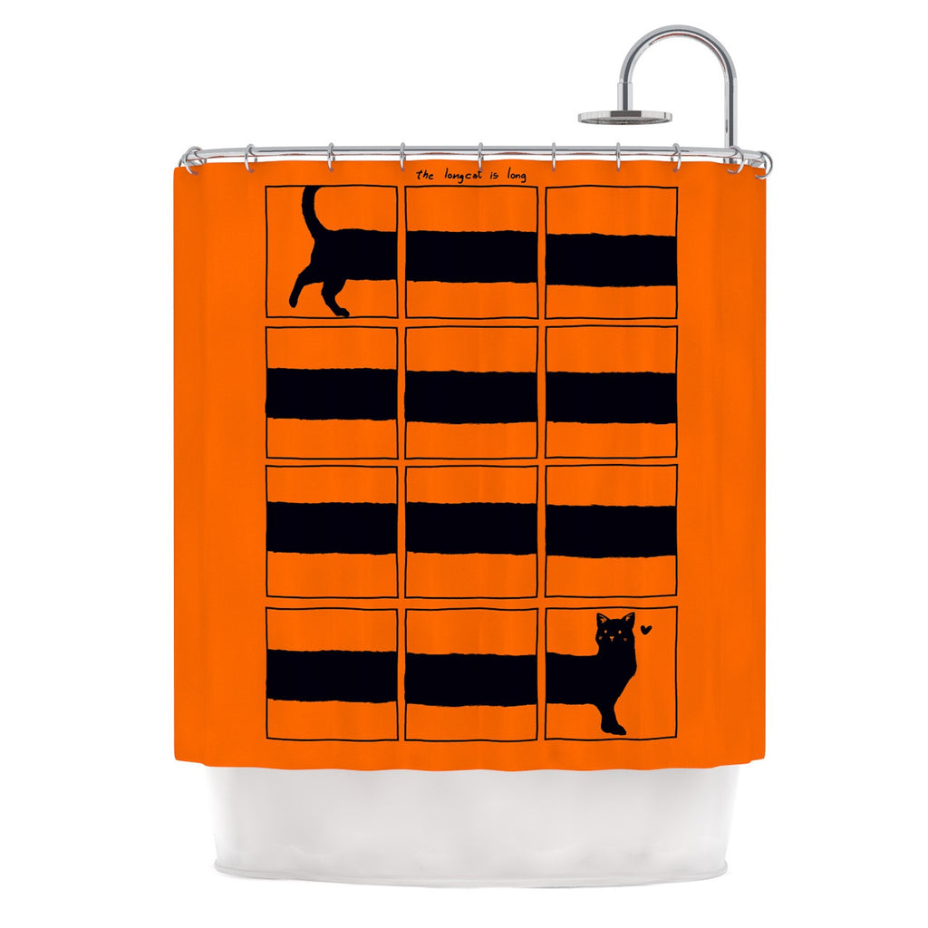 "Tobe Fonseca ""The Long Cat is Long"" Orange Black Shower Curtain - KESS InHouse"