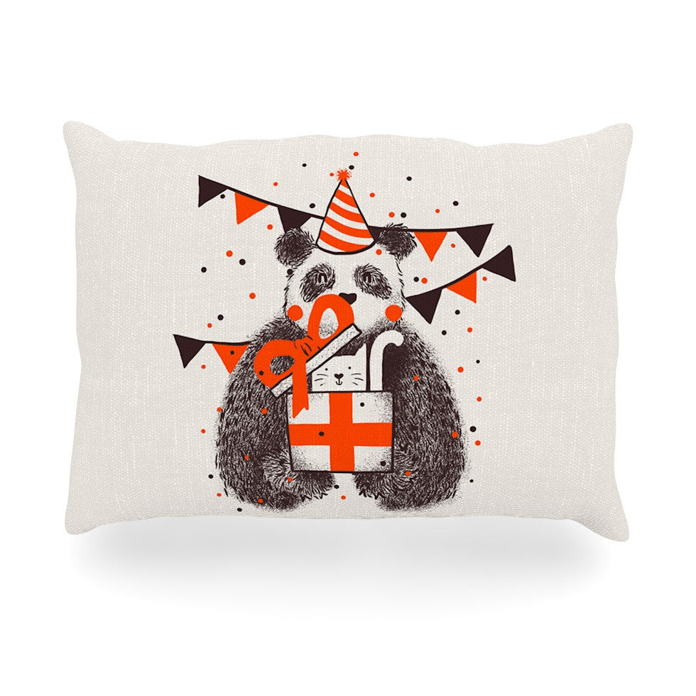 "Tobe Fonseca ""Happy Birthday"" Beige Brown Oblong Pillow - KESS InHouse"