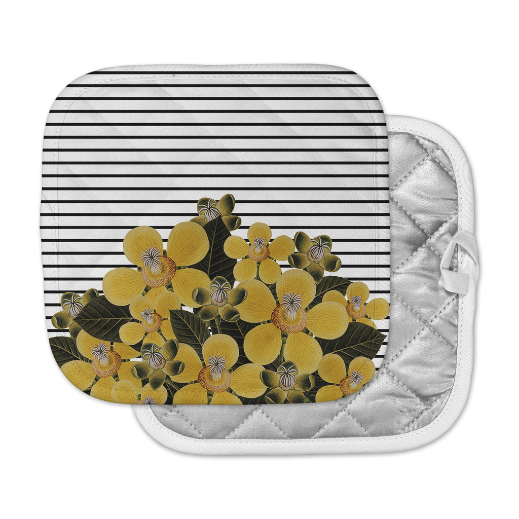 "Tobe Fonseca ""Spring Pattern Lines Yellow"" Yellow Black Mixed Media Pot Holder"