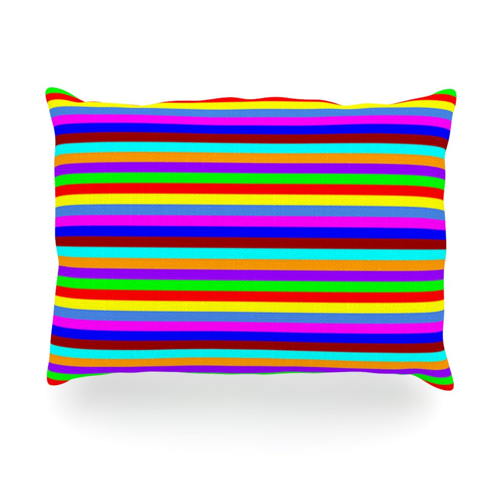 "Trebam ""Bombon"" Rainbow Stripes Oblong Pillow - KESS InHouse"