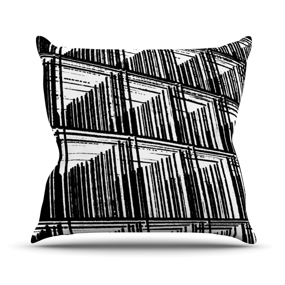 "Trebam ""Celik"" Black Lines Throw Pillow - KESS InHouse  - 1"