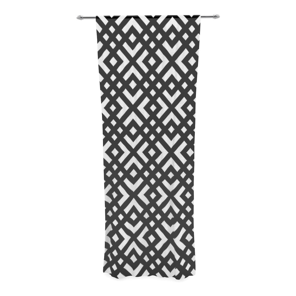 "Trebam ""Dijagonala"" Black Geometric Decorative Sheer Curtain - KESS InHouse  - 1"
