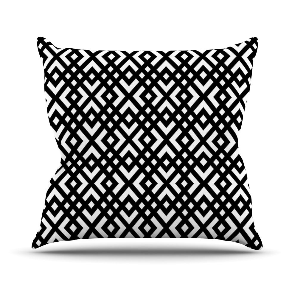 "Trebam ""Dijagonala"" Black Geometric Outdoor Throw Pillow - KESS InHouse  - 1"
