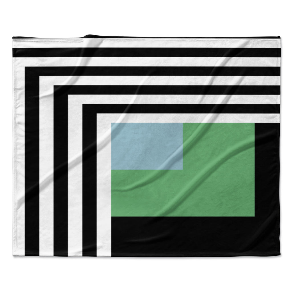 "Trebam ""Kutovi"" Black Teal Fleece Throw Blanket"