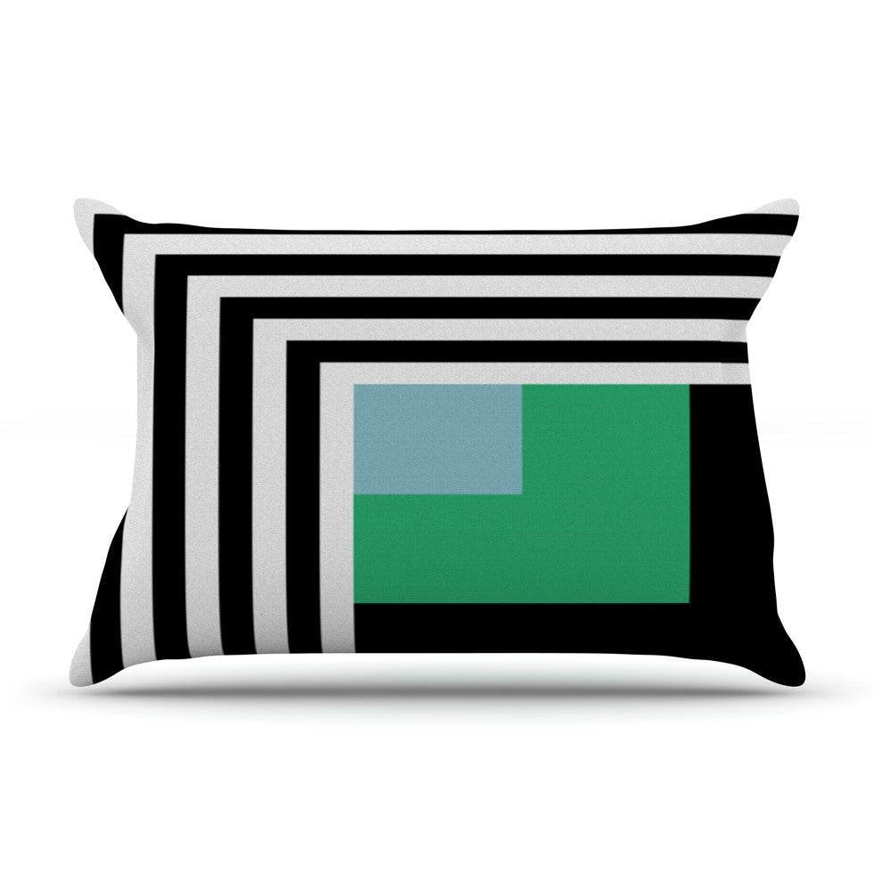 "Trebam ""Kutovi"" Black Teal Pillow Sham - KESS InHouse"