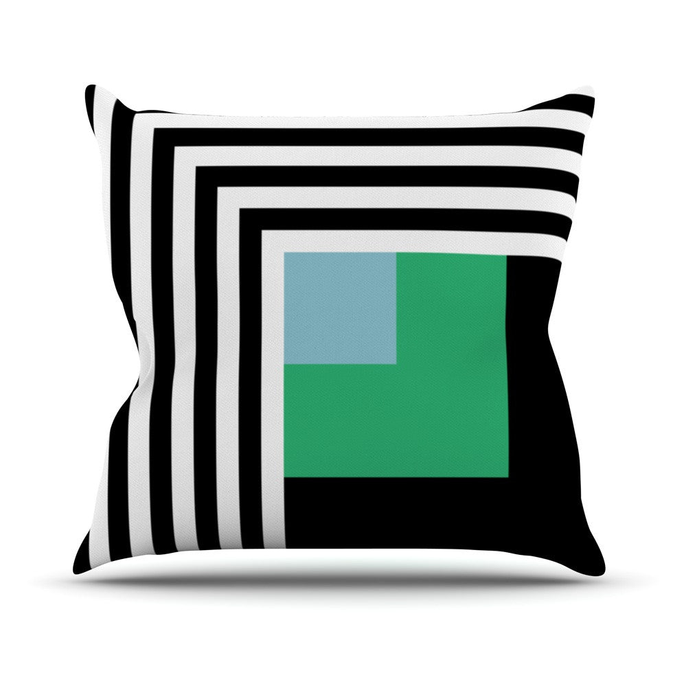 "Trebam ""Kutovi"" Black Teal Throw Pillow - KESS InHouse  - 1"