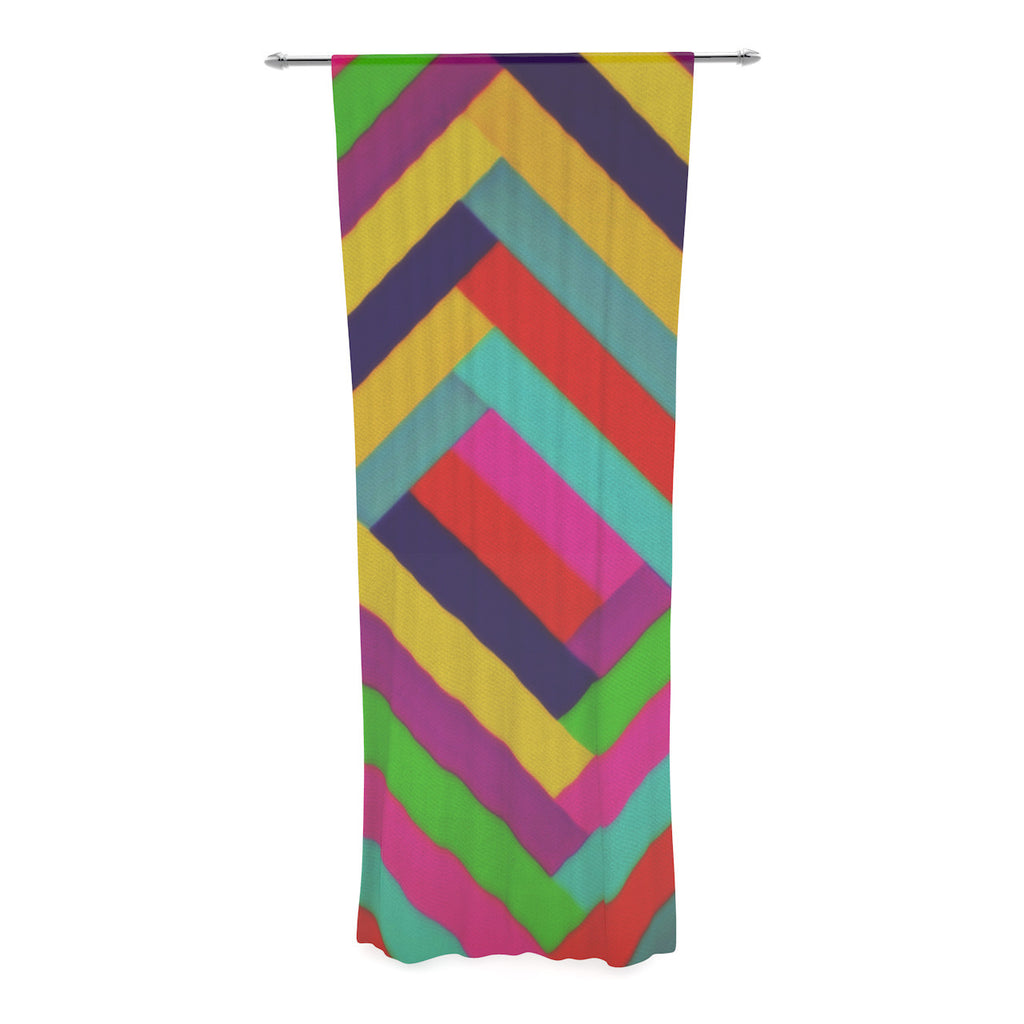 "Trebam ""Nakriv"" Rainbow Abstract Decorative Sheer Curtain - KESS InHouse  - 1"