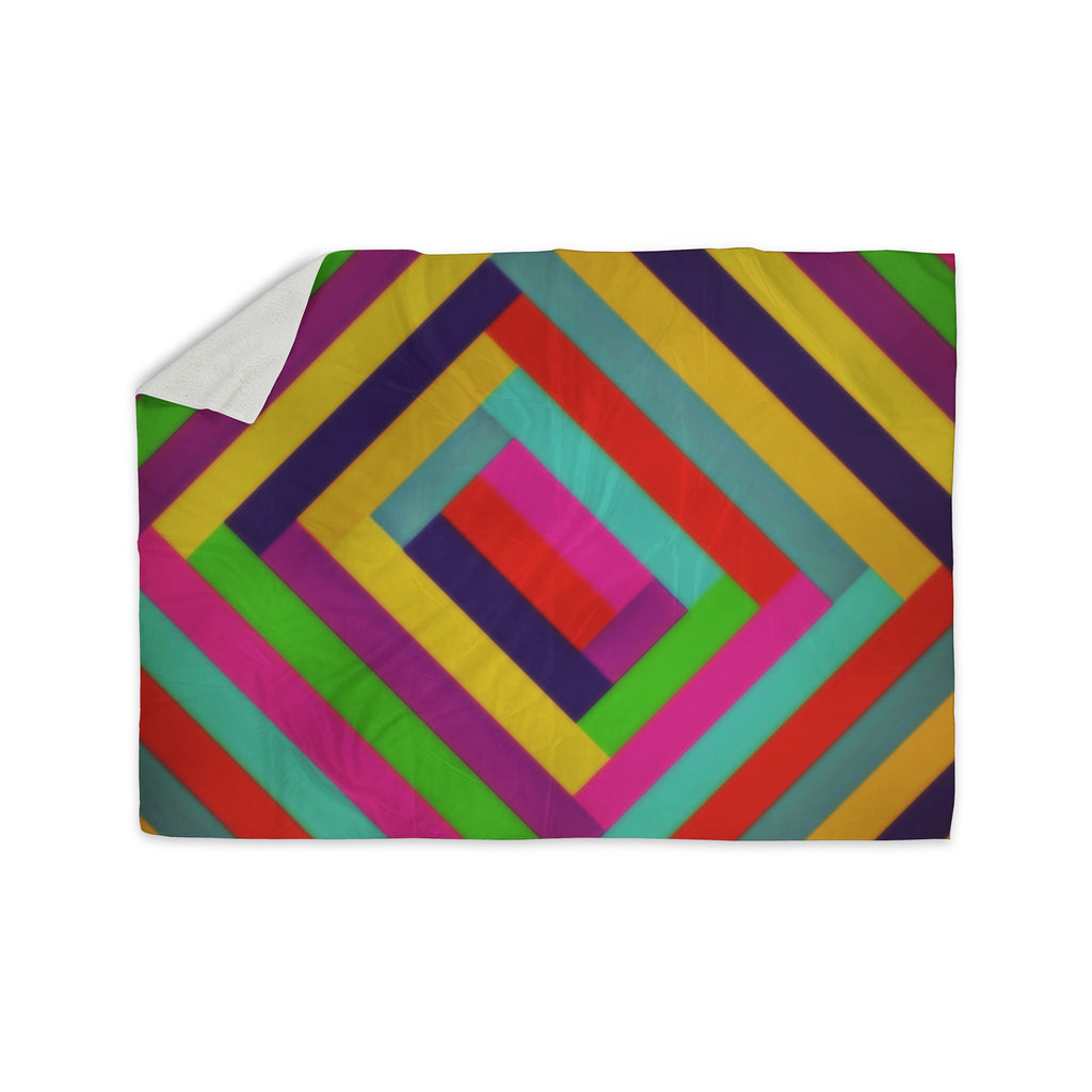 "Trebam ""Nakriv"" Rainbow Abstract Sherpa Blanket - KESS InHouse  - 1"
