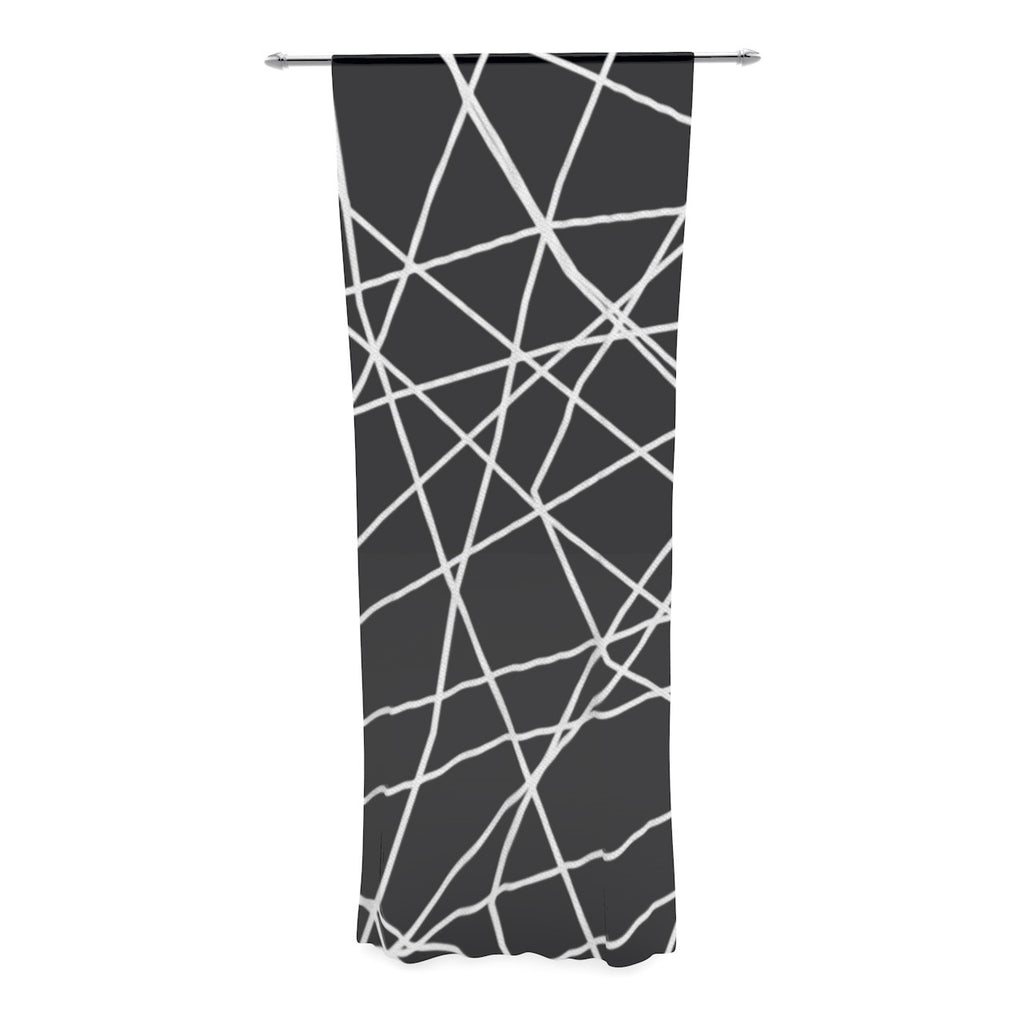 "Trebam ""Paucina"" Crazy Lines Decorative Sheer Curtain - KESS InHouse  - 1"